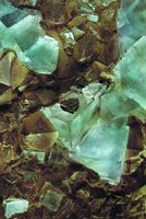 Blue fluorite on matrix, from the main mine of Valzergues.